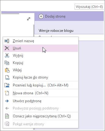 Kliknij prawym przyciskiem myszy kartę strony, aby usunąć tę stronę.