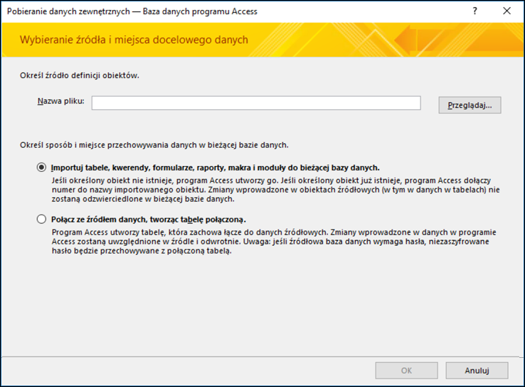 Zrzut ekranu przedstawiający kreatora importowania Pobieranie danych zewnętrznych — baza danych programu Access