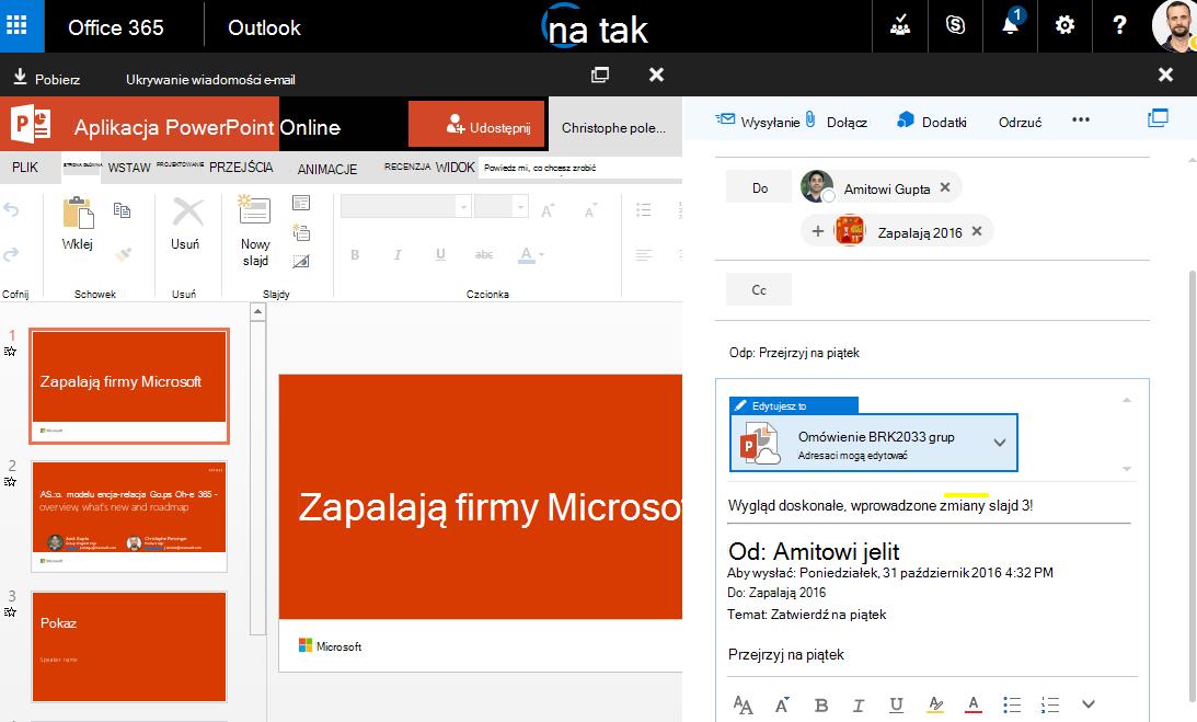 Zrzut ekranu z załączników wiadomości e-mail