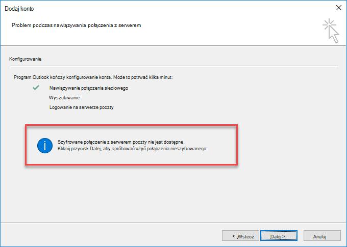 Błąd połączenia szyfrowanego w programie Outlook
