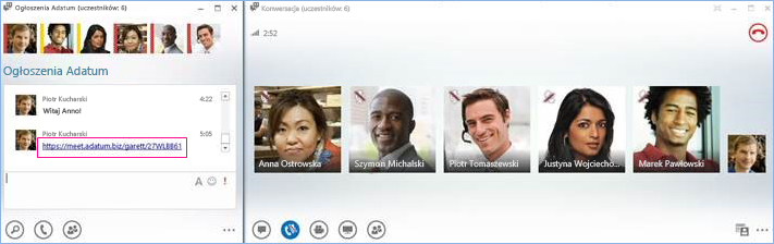 Zrzut ekranu: połączenie konferencyjne w pokoju rozmów