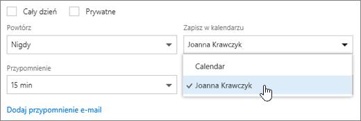 Zrzut ekranu przedstawiający menu Zapisz w kalendarzu.