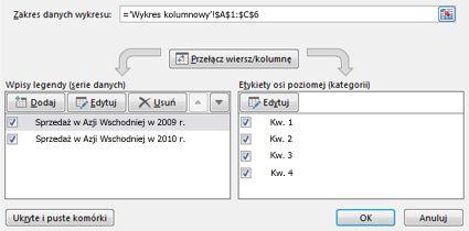 Okno dialogowe Wybieranie źródła danych