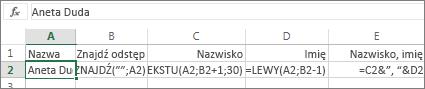 Formuły, które konwertują imię i nazwisko do formatu Nazwisko, Imię