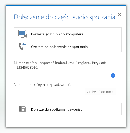 Zrzut ekranu: okno dialogowe Dołączanie do części audio spotkania z zaznaczoną opcją Czekam na połączenie ze spotkania