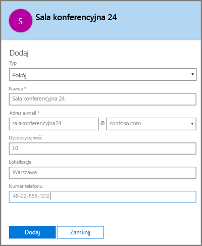 Dodawanie skrzynki pocztowej pokoju w usłudze Office 365