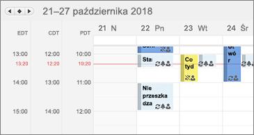 Kalendarz wyświetlający trzy strefy czasowe