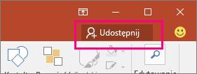 Przycisk Udostępnij na wstążce w programie PowerPoint 2016
