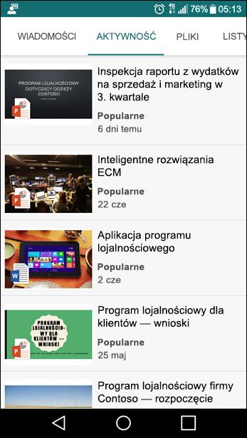 Widok witryny zespołu w programie SharePoint dla urządzeń przenośnych