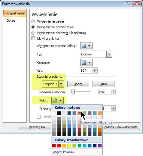 Aby uzyskać niestandardowy schemat kolorów gradientu, wybierz stopień gradientu, a następnie wybierz pozycję Kolor.