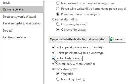 Pozycja Pokaż karty arkuszy w opcjach programu Excel