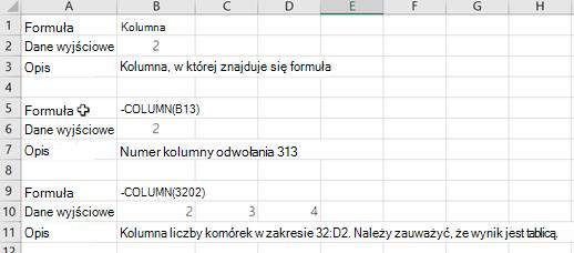Przykłady funkcji COLUMN