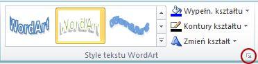 Przycisk Uruchom okno dialogowe Style tekstu WordArt