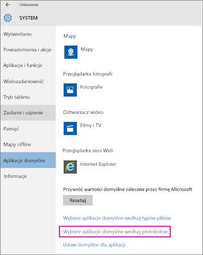 Zrzut ekranu przedstawiający ustawienie Wybierz aplikacje domyślne według protokołów w systemie Windows 10.