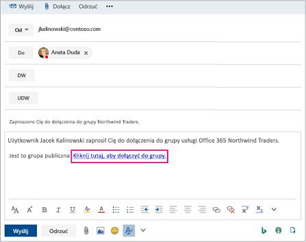Wyślij wiadomość e-mail z łączem zapraszaniu użytkownika w celu dołączenia do grupy