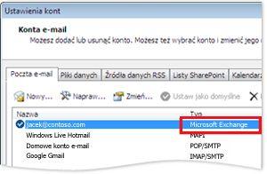 Przykładowe konto serwera Exchange w oknie dialogowym Ustawienia kont