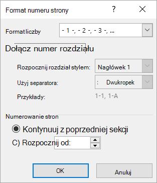 Okno dialogowe format numeru strony