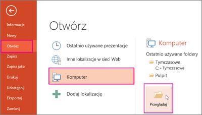 Ładowanie i stosowanie szablonu programu PowerPoint