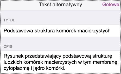 Okno dialogowe tekstu alternatywnego na telefonie iPhone.