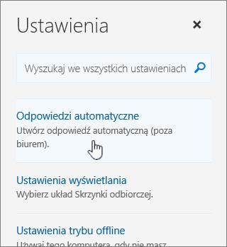 Zrzut ekranu Pomoc z wybraną opcją Autoodpowiedzi.