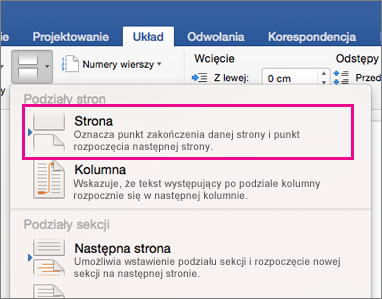 Wyróżnione menu podział układ z podziałem strony