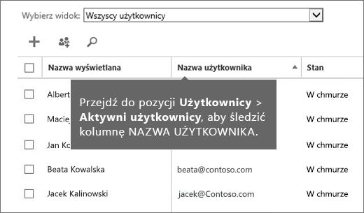 Kolumna Nazwa użytkownika w centrum administracyjnym usługi Office 365