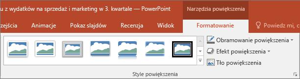 Przedstawia różne style i efekty powiększenia, które można wybrać na karcie Formatowanie w programie PowerPoint.