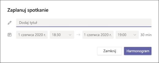 Planowanie ekranu spotkania