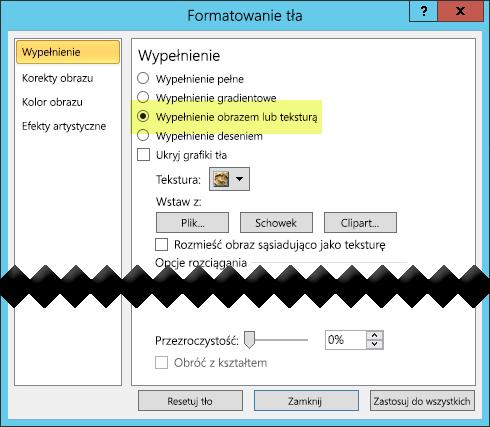 Okno dialogowe Formatowanie tła