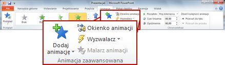 Grupa Animacja zaawansowana na karcie Animacje na wstążce programu PowerPoint 2010