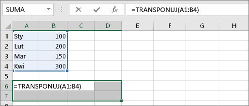 =TRANSPONUJ(A1:B4)