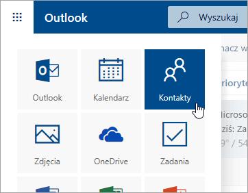 Zrzut ekranu przedstawiający kafelek Kontakty w obszarze Uruchamianie aplikacji