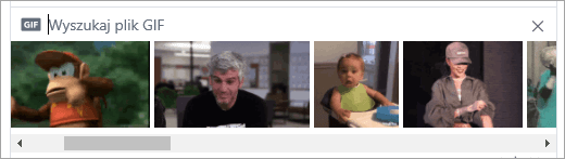 Listę dostępnych GIF