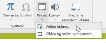 Przycisk na wstążce umożliwiający wstawienie klipu wideo online w programie PowerPoint