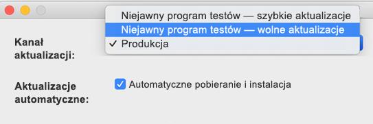 Obraz okna Preferencje w programie Microsoft AutoUpdate na komputerze Mac, w którym są wyświetlone opcje wolnych i szybkich aktualizacji w ramach niejawnego programu testów pakietu Office.