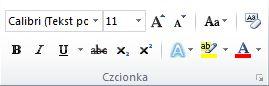 Grupa Czcionka na karcie Narzędzia główne na wstążce programu Word 2010