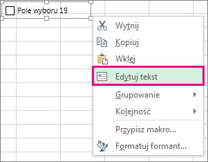 Edytowanie tekstu kontrolki formularza