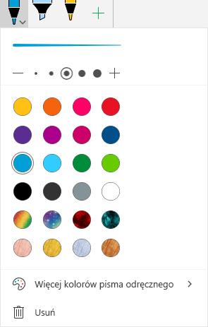 Kolory i efekty pisma odręcznego dotyczące rysowania za pomocą pisma odręcznego w pakiecie Office na urządzeniu