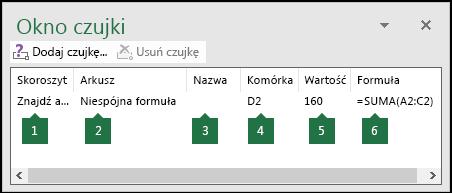 Okno czujki umożliwia łatwe monitorowanie formuł użytych w arkuszu