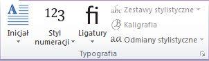 Grupa Typografia w programie Publisher 2010