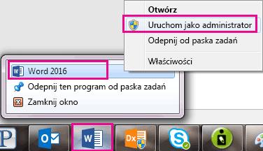 Kliknij prawym przyciskiem myszy ikonę programu Word, a następnie kliknij prawym przyciskiem myszy wyraz, aby ponownie uruchomić program jako administrator.