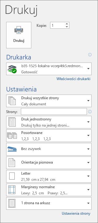 Zrzut ekranu przedstawiający okienko Drukowanie z różnymi ustawieniami drukowania, na przykład liczbą kopii.