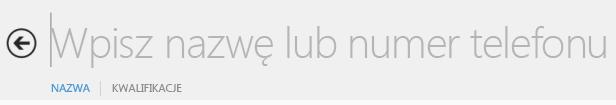 Zrzut ekranu: pole tekstowe wyszukiwania w programie Lync
