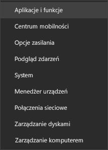 Zrzut ekranu przedstawiający menu Start z pozycją Aplikacje i funkcje