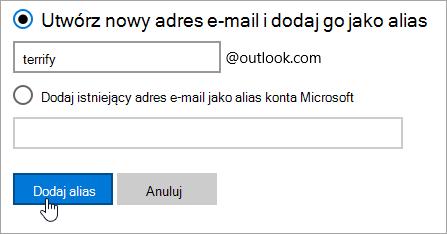 Zrzut ekranu przedstawiający stronie Dodaj alias.
