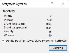 Statystyka wyrazów, liczba stron w dokumencie.