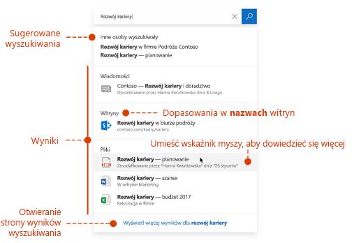Zrzut ekranu przedstawiający pole wyszukiwania