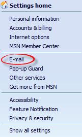 Opcję e-mail w ustawieniach listy rozwijanej