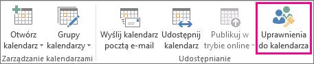 Przycisk Uprawnienia do kalendarza na karcie Narzędzia główne programu Outlook 2013