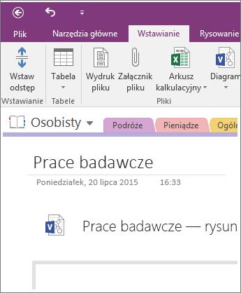 Zrzut ekranu przedstawiający wstawianie nowego diagramu programu Visio do programu OneNote 2016.